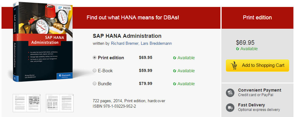 SAP HANA Administration 책 구매하기