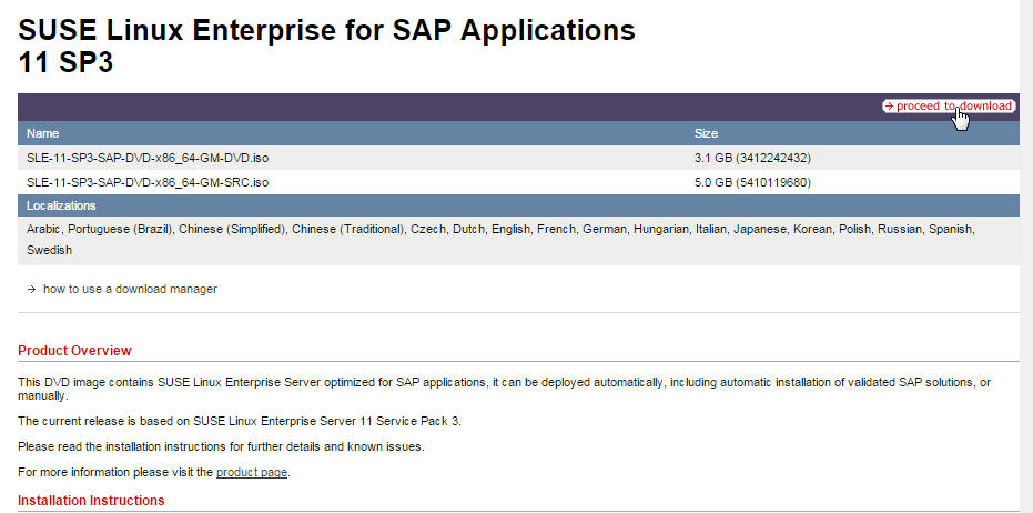 Download and install SUSE Linux for SAP