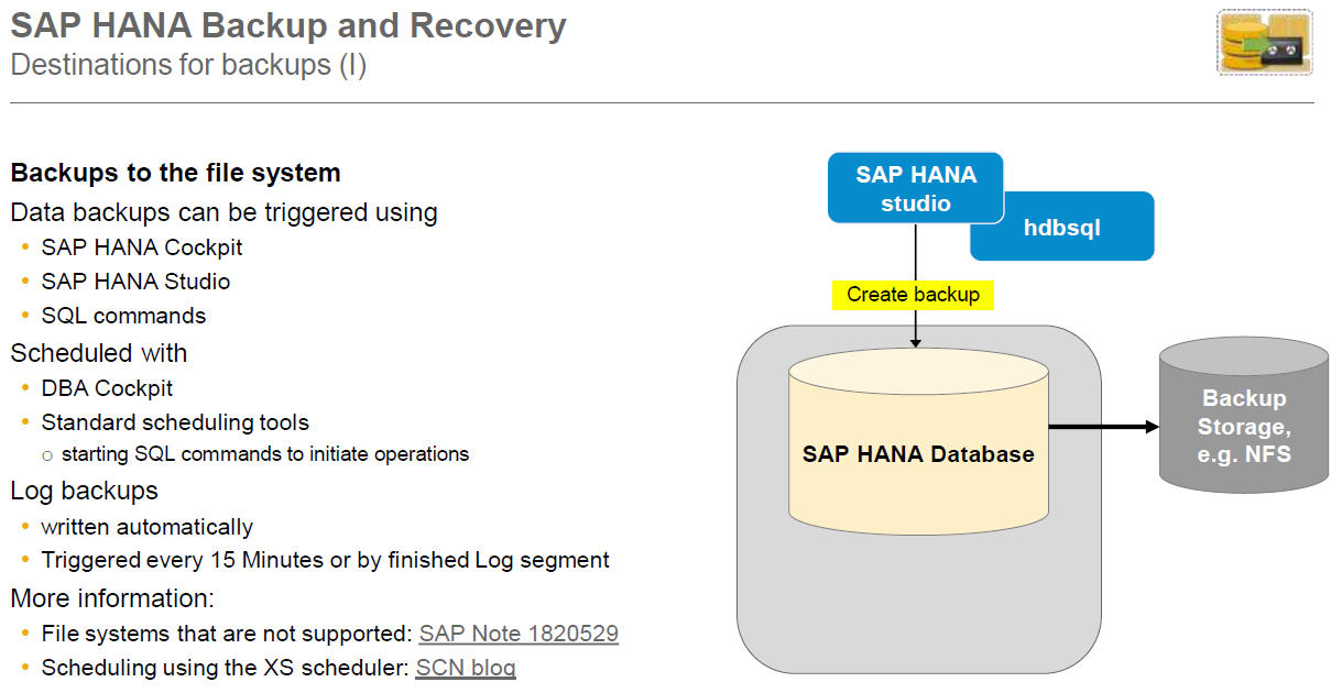 SAP HANA DB Backup and Recovery – SAP S/4 HANA