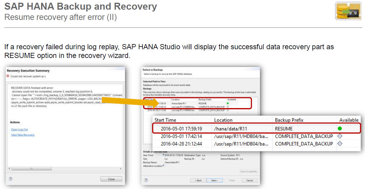 The Following Figure Shows Recovery Using HANA Studio When Using Recovery.  Sap Hana Resume